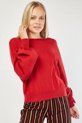 Tie Up Eyelet Knit Sweater