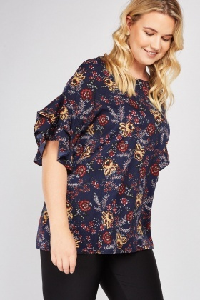 Tiered Ruffle Sleeve Printed Top