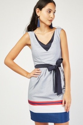V-Neck Novelty Stripe Dress
