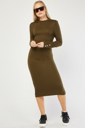 Button Trim Jersey Knit Dress