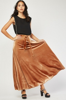 Flared Maxi Velveteen Skirt
