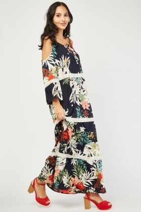 Floral Crochet Cold Shoulder Dress