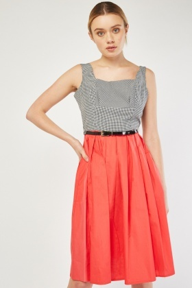 Gingham Bodice Midi Dress