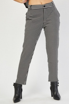 Houndstooth Pattern Tapered Trousers