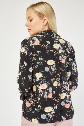Long Sleeve Flower Print Shirt