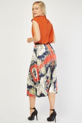 Pleated Baroque Print Sateen Skirt