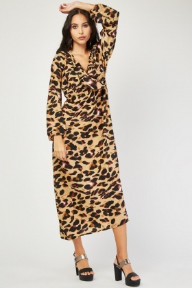 Ruffle Speckled Print Wrap Dress