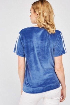Short Sleeve Stripe Side Velour Top