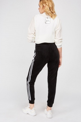 Velour Joggers With Stripe Side