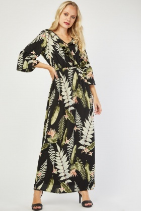 Bell Sleeve Tropical Print Dress