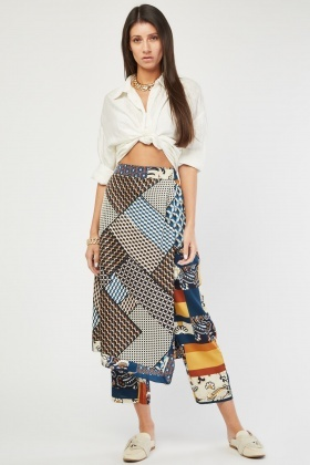 Printed Skirt Overlay Trousers