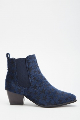 Faux Fur Star Pattern Ankle Boots