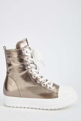Metallic Lace Up High Top Trainers
