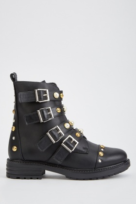 Multiple Buckled Encrusted Ankle Boots