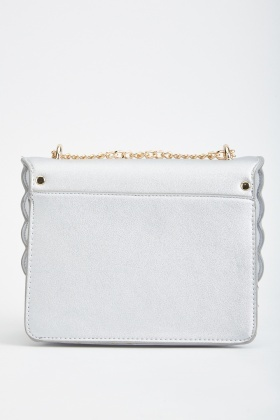 Pearl Trim Metallic Scallop Bag