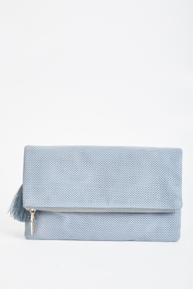 Perforated Foldover Clutch Bag