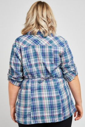 Crinkle Checkered Shirt