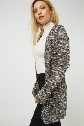 Open Front Multi Speckled Cardigan
