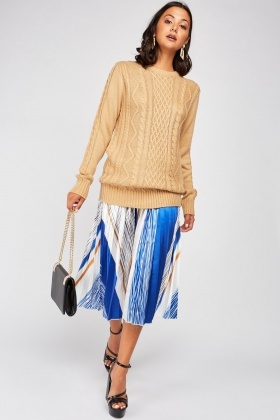 Pleated Sateen Contrast Skirt