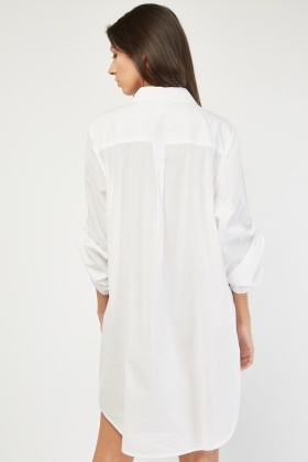 Shirred Panel Oversize Shirt Dress