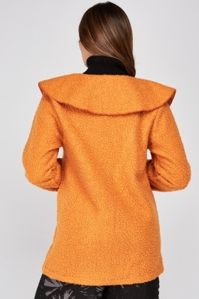 Lapel Front Bobble Textured Coat