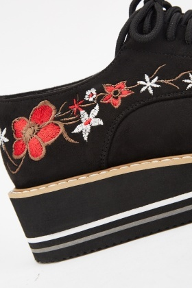 Embroidered Platform Suedette Shoes