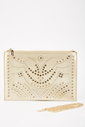 Eyelet Stud Metallic Clutch Bag