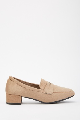 Faux Suede Low Heel Loafers
