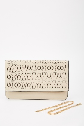 Laser Cut Metallic Contrast Clutch Bag