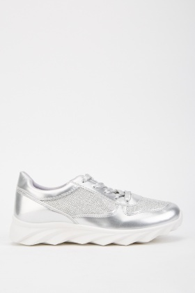 Metallic Lurex Lace Up Trainers