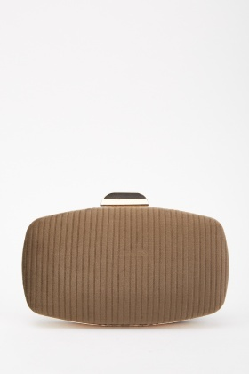 Ribbed Suede Minaudiere Bag