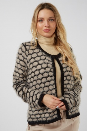Patterned Eyelash Knit Cardigan