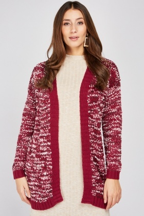 Rib Panel Textured Knit Cardigan