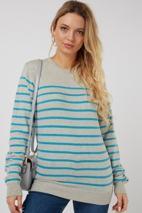 Round Neck Stripe Knit Jumper