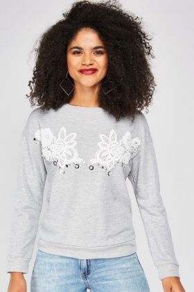 Crochet Flower Embellished Sweater