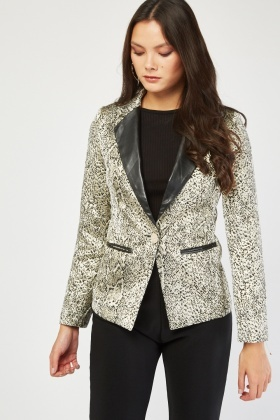 Faux Leather Collar Jacquard Blazer