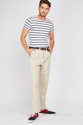 Straight Fitted Chino Trousers