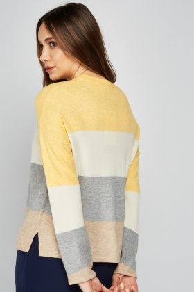 Crew Neck Colour Block Knit Jumper