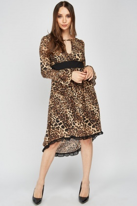 Leopard Print Ruffle Hem Swing Dress