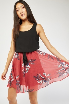 Tie Up Front Printed Skater Dress