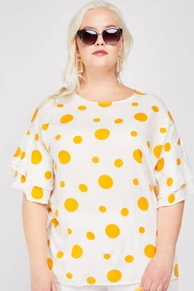 Tiered Sleeve Polka Dot Blouse