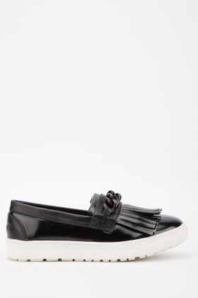 Chain Fringed Slip On Loafers