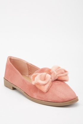 Fluffy Bow Trim Loafers