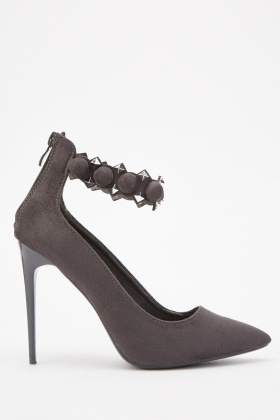 Studded Ankle Strap Court Heels