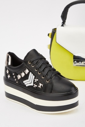 Studded Patch Trim Platform Sneakers