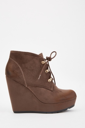 Worn Suedette Wedged Boots