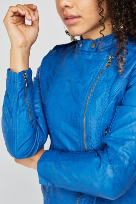 Blue Crinkle Biker Jacket
