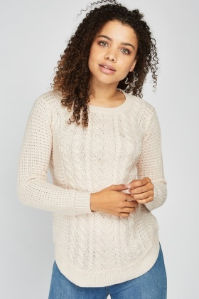 Curved Hem Cable Knit Jumper