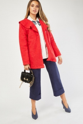 Lapel Front Teddy Fur Jacket