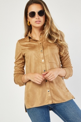 Single Pocket Front Suedette Shirt